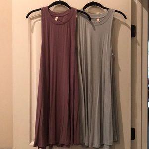 2 sleeveless swing dresses